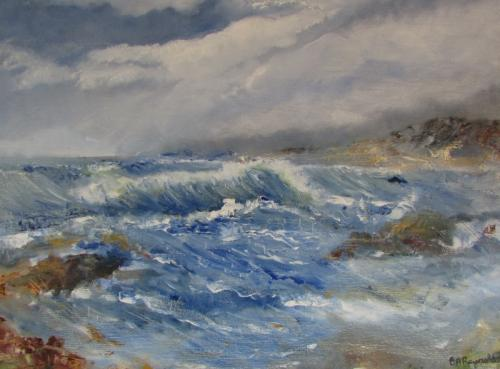 Angelsey Waves oil framed £110 62x52cm