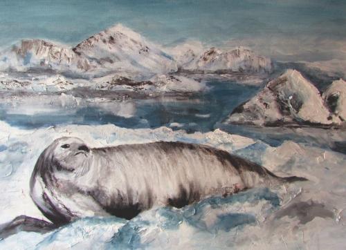 Basking Seal Acrylic unframed £180 80X60cms
