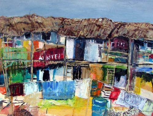 Shanty Town Mixed Media framed £110 55x43cm