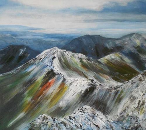 mountain ridge snowdonia 50x50 cms SOLD